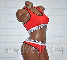 Красный комплект нижнего женского белья Кельвин Кляйн, топ и стринги, набор Calvin Klein реплика, размер M