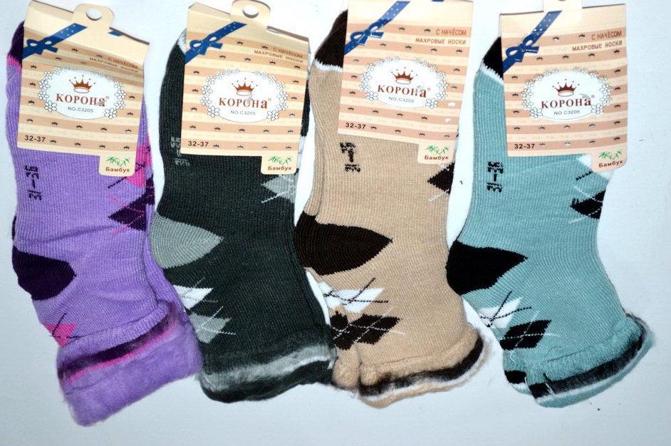 Махрові дитячі шкарпетки з начосом 32-37 Корона бамбукові