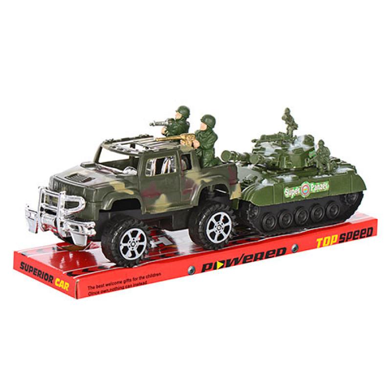 Джип з танком, в блістері, інерційний 17 см, в блістері
