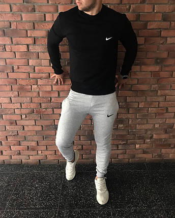 Осенний спортивный костюм Nike черно-серый топ реплика, фото 2