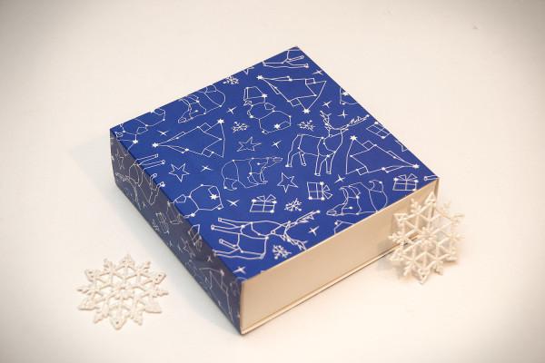 Коробка для конфет Новогодняя Синяя (Упаковка 3 шт.)