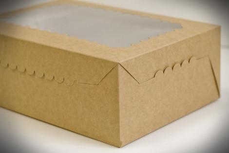 Коробки для кексов, маффинов, капкейков для 12 шт. КРАФТ(Упаковка 3 шт.)
