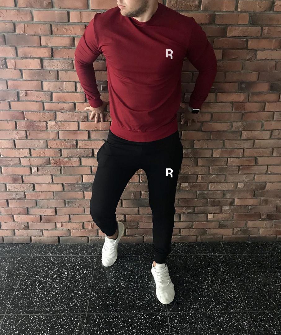 Осенний спортивный костюм Reebok бордово-черный топ реплика