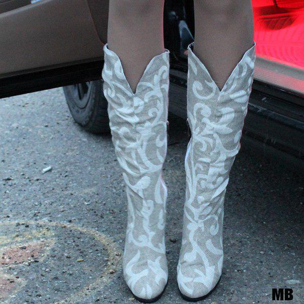 Сапоги лен натуральный, на низком каблуке. Размеры: 36-42,  код 4095О