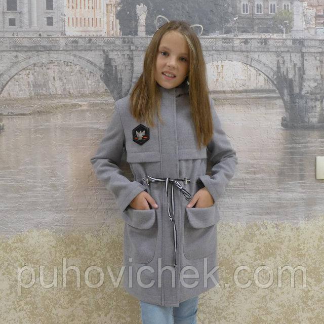 Стильное кашемировое пальто для девочки с капюшоном