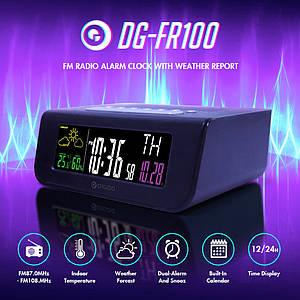 Digoo DG-FR100 настольные часы с FM приемником и функциями метеостанции. Термометр, гигрометр