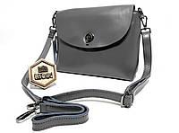 c3b56ccdc26a Кожаная женская сумка Galanty модель 2018 года, серого цвета