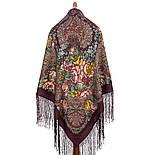 Старый замок 947-17, павлопосадский платок (шаль) из уплотненной шерсти с шелковой вязанной бахромой, фото 3