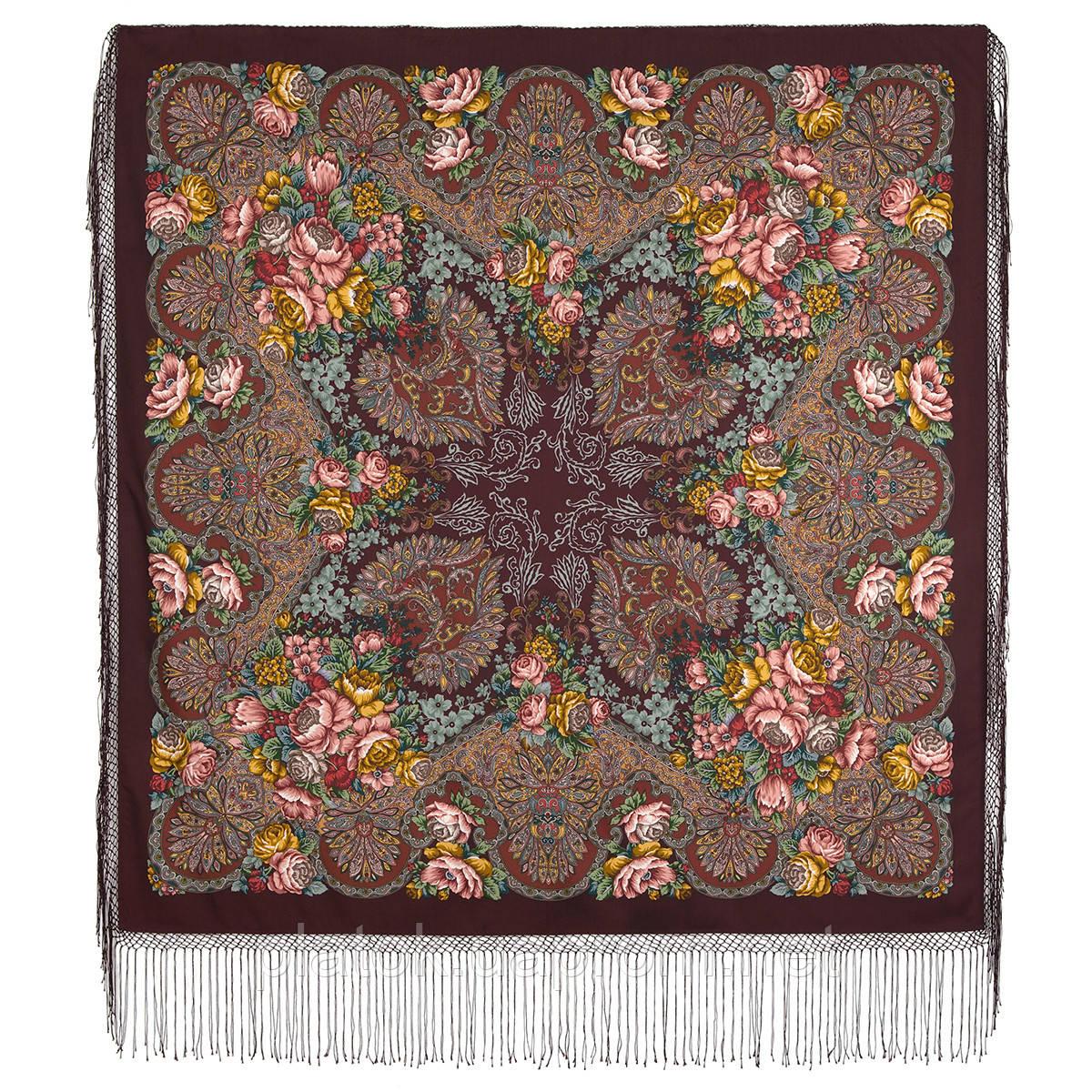 Старый замок 947-17, павлопосадский платок (шаль) из уплотненной шерсти с шелковой вязанной бахромой