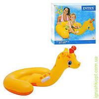 """Детская надувная лодочка - плотик """"Жираф"""", два удобных держателя, INTEX"""