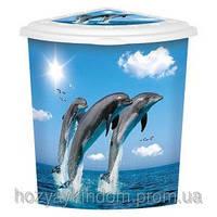 Угловая корзина для белья Дельфины от Elif Plastik