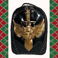 Мужской черный кожаный рюкзак 3D