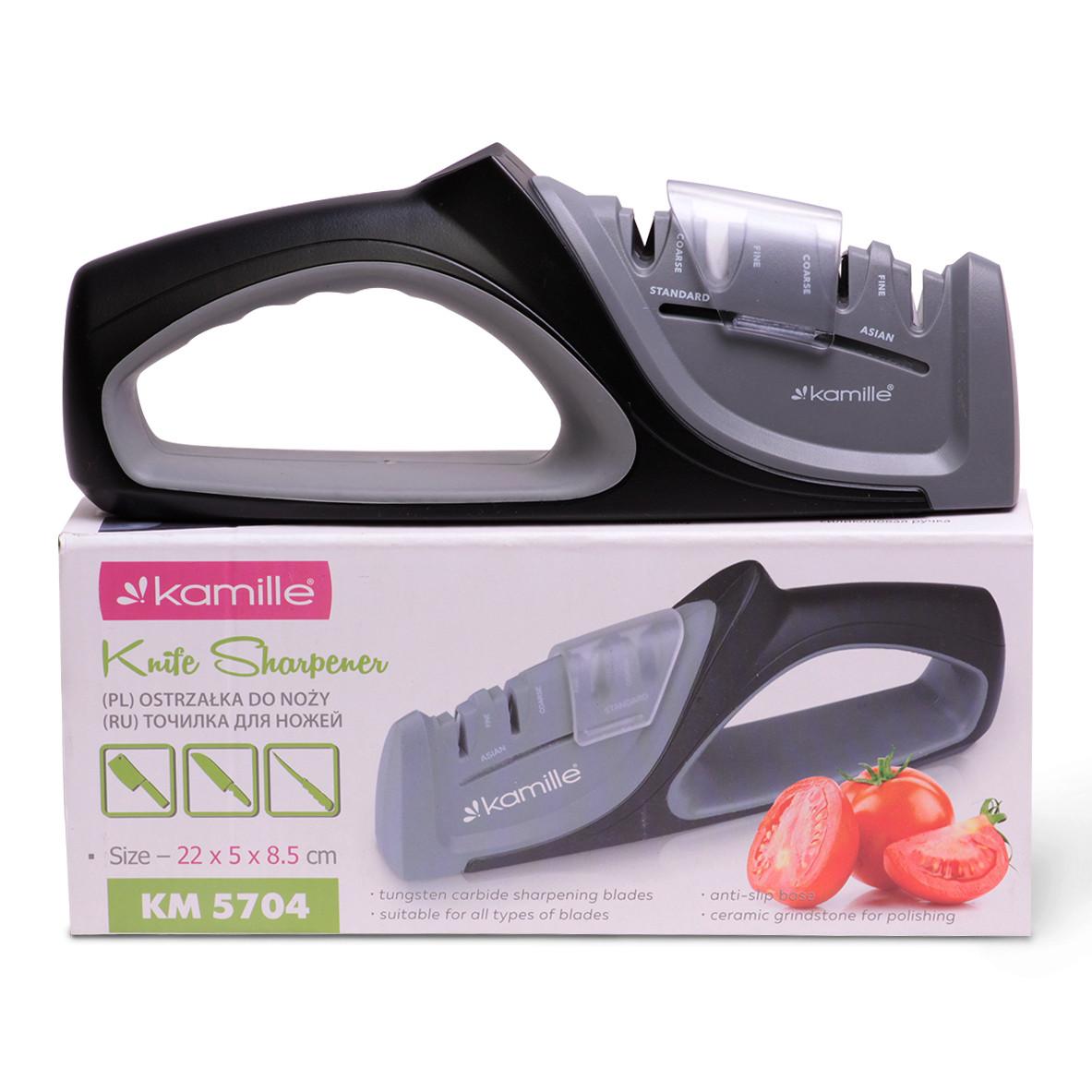 Точилка для ножей Kamille (ножеточка) с 2 видами точил (грубая заточка и керамическая полировка)