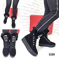 Женские замшевые зимние ботинки черные