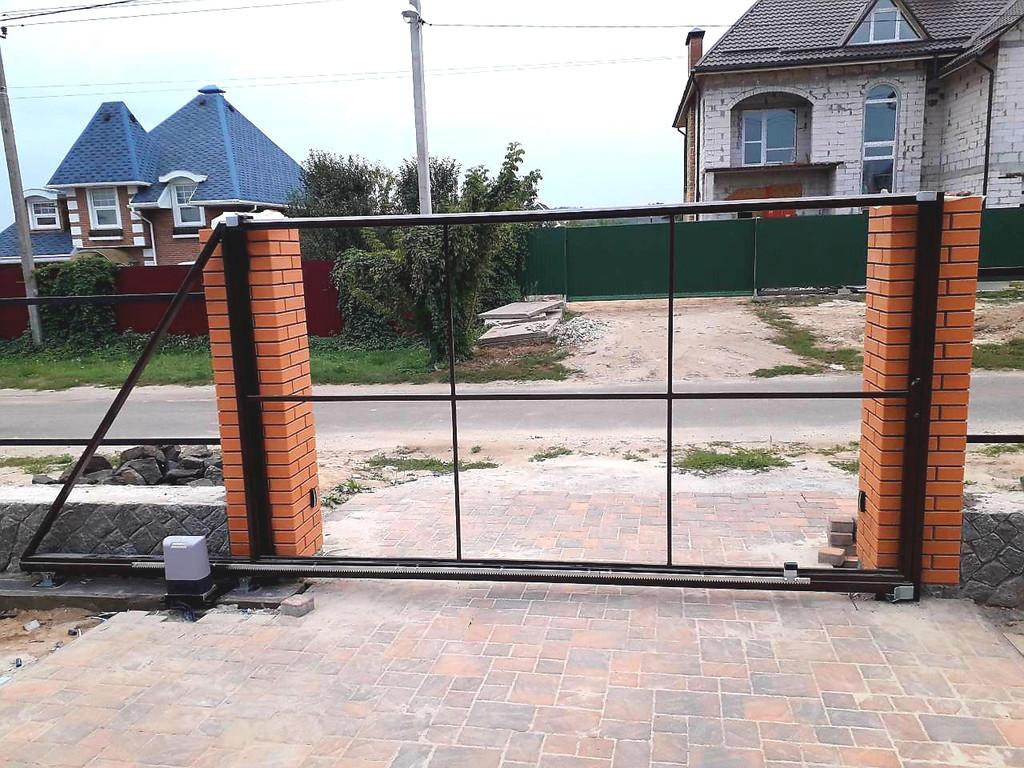 Каркас откатных ворот под зашивку металлопрофилем