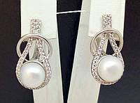 Серебряные серьги с жемчугом и фианитами. Артикул СВ661С, фото 1