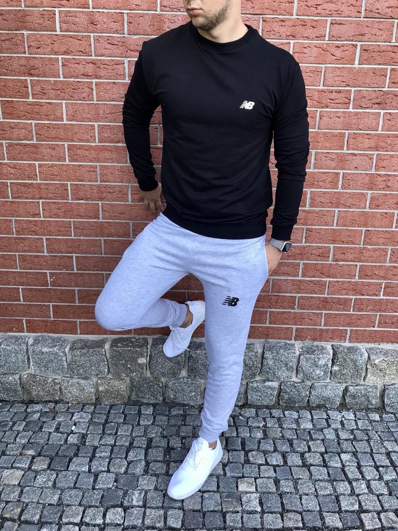 Осенний спортивный костюм New Balance черно-серый топ реплика