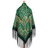 Караван 970-30, павлопосадский хустку (шаль) з ущільненої вовни з шовковою бахромою в'язаної, фото 2