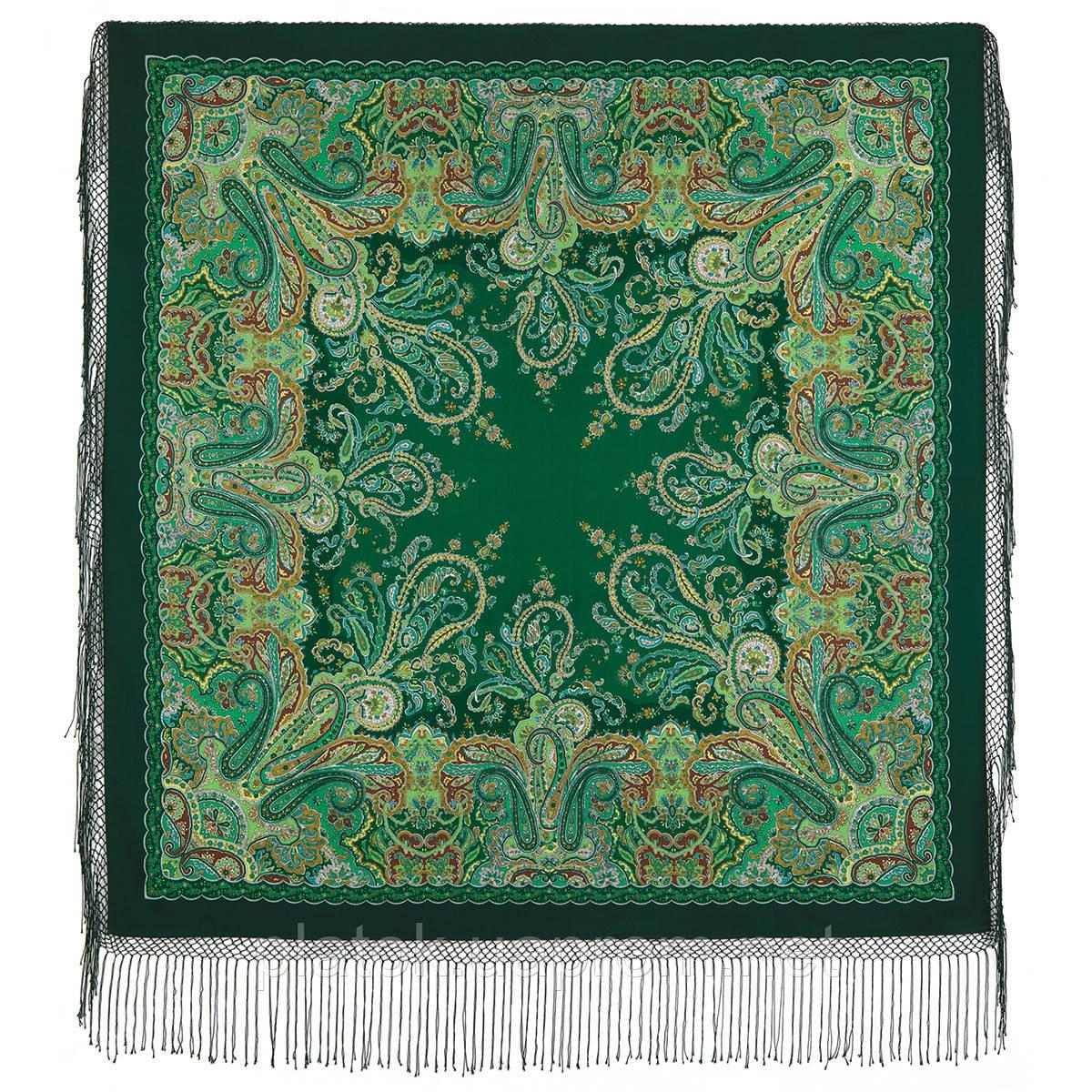 Караван 970-30, павлопосадский хустку (шаль) з ущільненої вовни з шовковою бахромою в'язаної