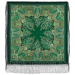 Караван 970-30, павлопосадский платок (шаль) из уплотненной шерсти с шелковой вязанной бахромой