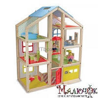 Кукольный домик с подъемником и мебелью