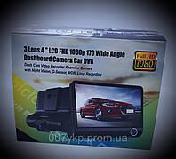 Видеорегистратор автомобильный T655 3 камеры HDR LCD 4.0 Full HD 170 градусов