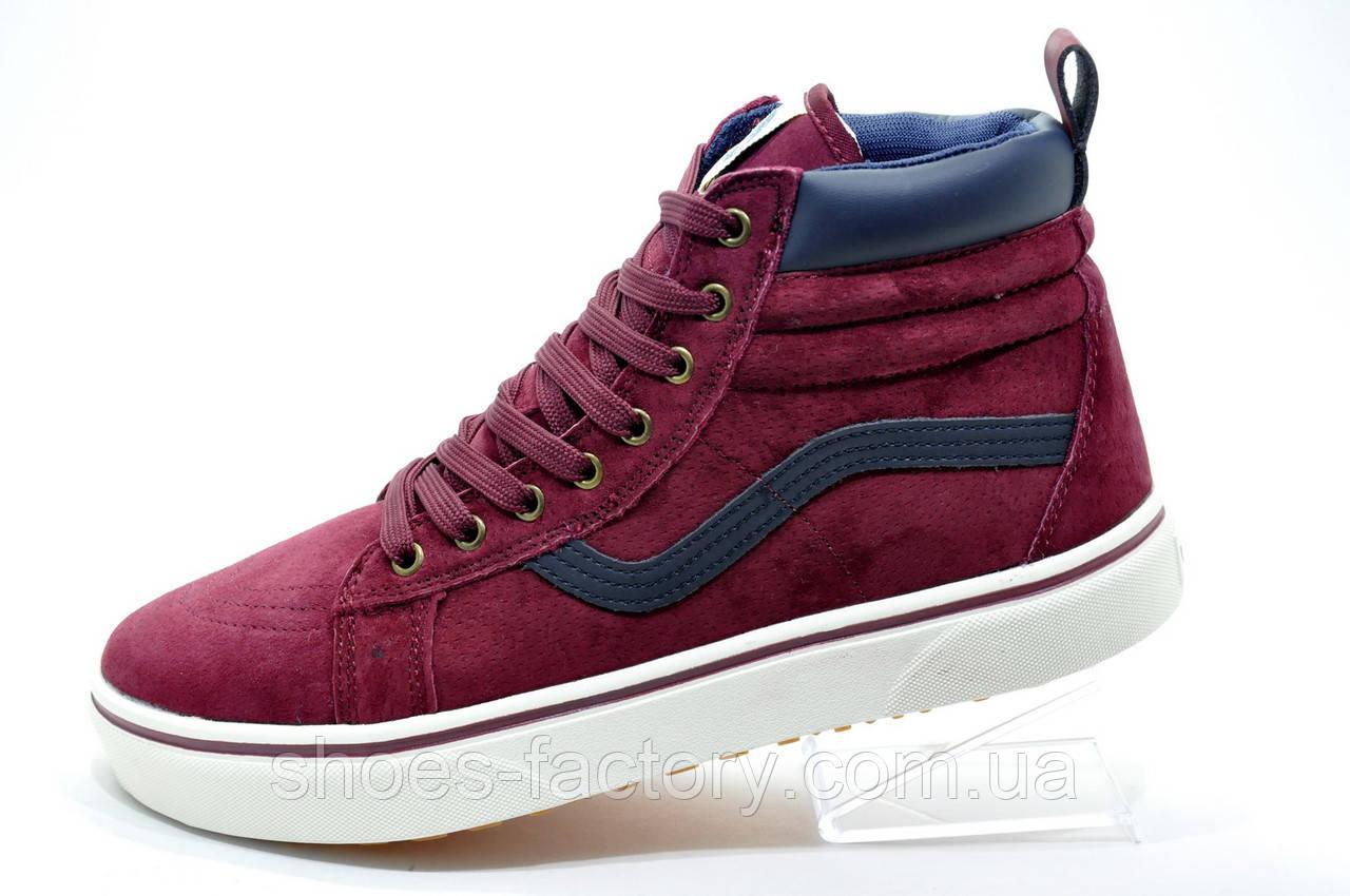 Зимние кроссовки в стиле Vans Old Skool Winter, на меху (Бордовый)