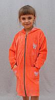 Халат детский велюровый оранжевый, фото 1