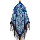 Караван 970-14, павлопосадский хустку (шаль) з ущільненої вовни з шовковою бахромою в'язаної, фото 2