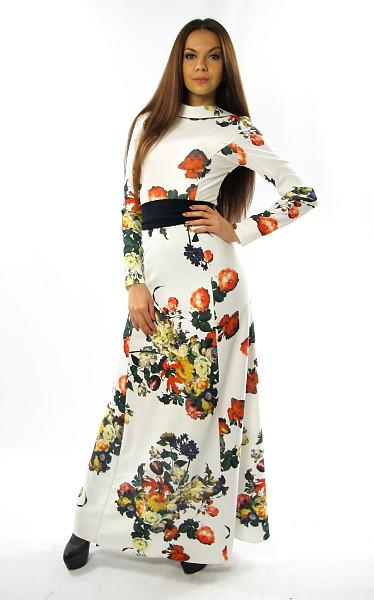 Нарядное белое платье в пол с поясом