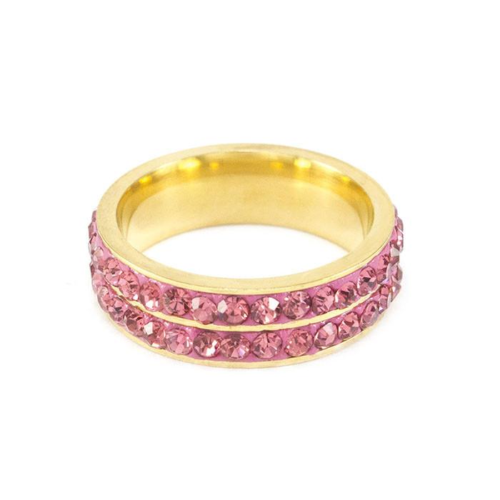 Кільце з двома рядами рожевих фіанітів Арт. RN017SL (17)