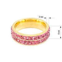 Кільце з двома рядами рожевих фіанітів Арт. RN017SL (17), фото 5