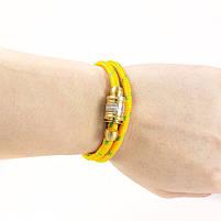 Текстильный браслет с закручивающейся застежкой желтый Арт. BS021SL, фото 2