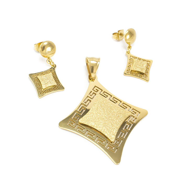 Комплект сережки-гвоздики и кулон Ромб с греческим узором Арт. ST007SL