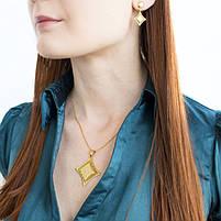 Комплект сережки-гвоздики и кулон Ромб с греческим узором Арт. ST007SL, фото 2