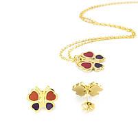 Комплект сережки-гвоздики и кулон Бабочки Арт. ST017SL, фото 4