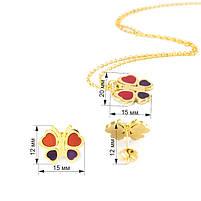 Комплект сережки-гвоздики и кулон Бабочки Арт. ST017SL, фото 7