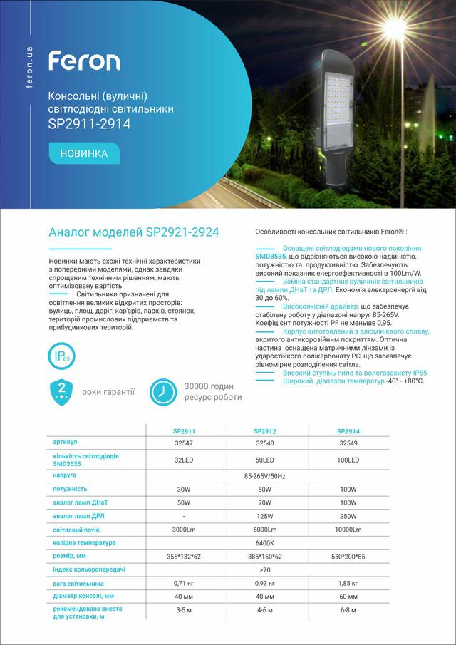 опис характеристики фото Вуличний консольний світлодіодний світильник Feron SP2912 50W 6400K