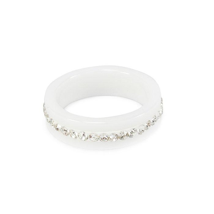 Кольцо керамическое с фианитами по кругу белое Арт. RN006CR (18)