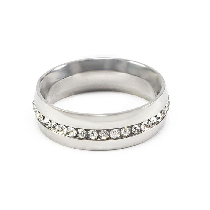 Кольцо с фианитами по кругу цвета серебра Арт. RN001SL (20)