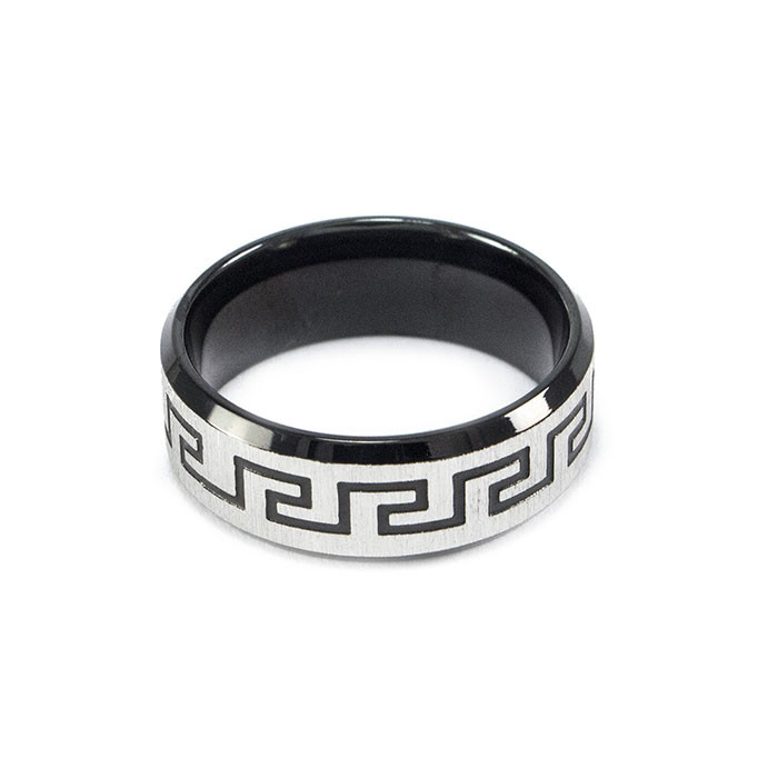 Кольцо с греческим узором черное Арт. RN033SL (19)