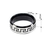 Кольцо с греческим узором черное Арт. RN033SL (19), фото 5