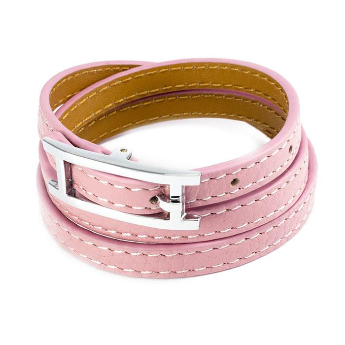 Кожаный браслет Ремешок розовый Арт. BS014LR