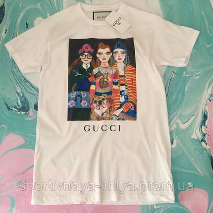 Мужская белая футболка Gucci унисекс Реплика, фото 2