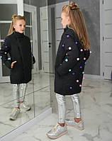 Куртка пальто детское зимнее плащевка на синтепоне 200 рост:128,134,140,146