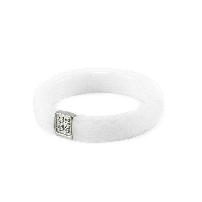 Кольцо керамическое с 4 фианитами белое Арт. RN013CR (17.5)