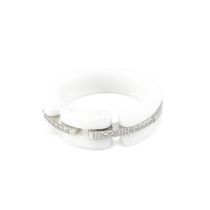 Кольцо керамическое в стиле Chanel белое Арт. RN021CR (16)