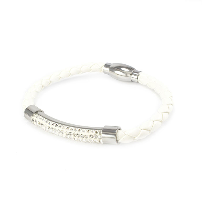 Кожаный браслет с фианитами белый Арт. BS019LR