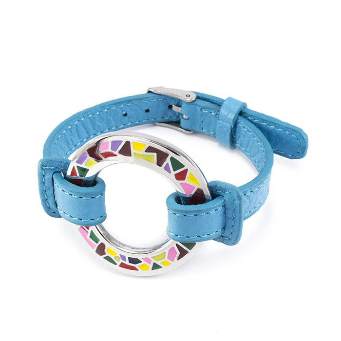 Кожаный браслет Часики голубой Арт. BS016LR