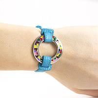 Кожаный браслет Часики голубой Арт. BS016LR, фото 2